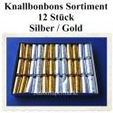 Knallbonbons-Sortiment, Silber-Gold, 18 cm, 12 Stück