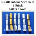Knallbonbons-Sortiment, Silber-Gold, 18 cm, 6 Stück
