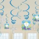 Deko-Wirbler Swirls, Kommunion, blau, 12 Stück