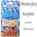 Konffetti Bayern, Oktoberfest - Bayrische Wochen Tischdekoration, 3 Sorten, 28 Gramm