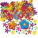 Konfetti Geburtstag, Happy Birthday mit Blumen und Punkten