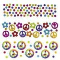 Hippie-Party Konfetti, Feeling Groovy, 3 Sorten Streudekoration, Partydekoration Hippie-Mottoparty