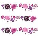 Pink Celebration 18 Konfetti, 3 Sorten Streudekoration, Partydekoration zum 18. Geburtstag