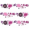 Pink Celebration 40 Konfetti, 3 Sorten Streudekoration, Partydekoration zum 40. Geburtstag