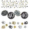 Sparkling Celebration 40 Konfetti, 3 Sorten Streudekoration, Partydekoration zum 40. Geburtstag