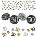 Sparkling Celebration 50 Konfetti, 3 Sorten Streudekoration, Partydekoration zum 50. Geburtstag