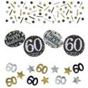 Sparkling Celebration 60 Konfetti, 3 Sorten Streudekoration, Partydekoration zum 60. Geburtstag