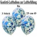 Konfetti-Ballons, Latex 25 cm Ø, 3 Stück, Transparent, gefüllt mit Konfetti in Blau