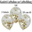 Konfetti-Ballons, Latex 25 cm Ø, 3 Stück, Transparent, gefüllt mit Konfetti in Gold