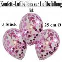 Konfetti-Ballons, Latex 25 cm Ø, 3 Stück, Transparent, gefüllt mit Konfetti in Pink