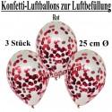 Konfetti-Ballons, Latex 25 cm Ø, 3 Stück, Transparent, gefüllt mit Konfetti in Rot