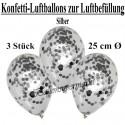 Konfetti-Ballons, Latex 25 cm Ø, 3 Stück, Transparent, gefüllt mit Konfetti in Silber