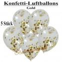 Konfetti-Ballons, Latex 30 cm Ø, 5 Stück, Transparent, gefüllt mit Konfetti in Gold