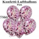 Konfetti-Ballons, Latex 30 cm Ø, 5 Stück, Transparent, gefüllt mit Konfetti in Pink