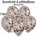Konfetti-Ballons, Latex 30 cm Ø, 5 Stück, Transparent, gefüllt mit Konfetti in Rosegold