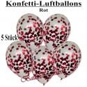 Konfetti-Ballons, Latex 30 cm Ø, 5 Stück, Transparent, gefüllt mit Konfetti in Rot