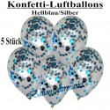 Konfetti-Ballons, Latex 30 cm Ø, 5 Stück, Transparent, gefüllt mit Konfetti in Hellblau und Silber