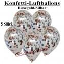 Konfetti-Ballons, Latex 30 cm Ø, 5 Stück, Transparent, gefüllt mit Konfetti in Rosegold und Silber
