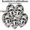 Konfetti-Ballons, Latex 30 cm Ø, 5 Stück, Transparent, gefüllt mit Konfetti in Schwarz und Silber