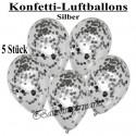 Konfetti-Ballons, Latex 30 cm Ø, 5 Stück, Transparent, gefüllt mit Konfetti in Silber