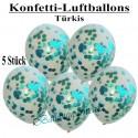 Konfetti-Ballons, Latex 30 cm Ø, 5 Stück, Transparent, gefüllt mit Konfetti in Türkis