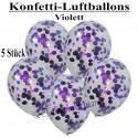 Konfetti-Ballons, Latex 30 cm Ø, 5 Stück, Transparent, gefüllt mit Konfetti in Violett