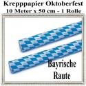 Oktoberfest Krepppapier, Bayrisches Muster, 10 Meter x 50 cm, schwer entflammbar