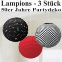 50er Jahre Party Lampions, 3 Stück, Partydekoration Mottoparty Fifties