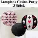 Lampions Casino-Party, Partydekoration, 3 Stück