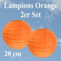 Lampions Orange, 20 cm, 2 Stück