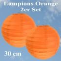 Lampions Orange, 30 cm, 2 Stück