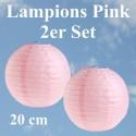 Lampions Pink, 20 cm, 2 Stück