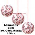 Lampions, Verkehrsschild 30 zum 30. Geburtstag , 3er Set