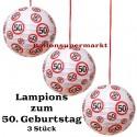 Lampions, Verkehrsschild 50 zum 50. Geburtstag , 3er Set