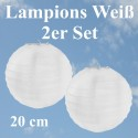 Lampions Weiß, 20 cm, 2 Stück