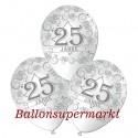 Luftballons, Silberne Hochzeit, 25 Jahre, Latex 30 cm Ø, 100 Stück / Weiß