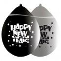 Luftballons Silvester, Motiv: Happy New Year, silber/schwarz, 8 Stück
