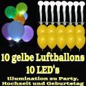 LED-Luftballons, Gelb, 10 Stück