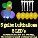 LED-Luftballons, Gelb, 5 Stück