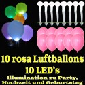 LED-Luftballons, Rosa, 10 Stück