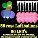 LED-Luftballons, Rosa, 50 Stück