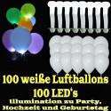 LED-Luftballons, Weiß, 100 Stück