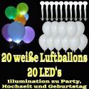 LED-Luftballons, Weiß, 20 Stück
