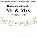 Letterbanner, Mr & Mrs, Dekoration Hochzeit, Hochzeitsauto