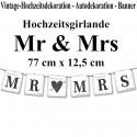 Letterbanner, Mr & Mrs, Dekoration Vintage Hochzeit, Hochzeitsauto