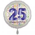 Luftballon aus Folie, Satin Weiß 45 cm rund, Happy Birthday zum 25. Geburtstag, inklusive Helium