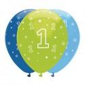 Luftballons, Latexballons Happy 1 Birthday / Blau, Hellblau & Grün