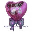Luftballon aus Folie, Liebe, I Love You, Cluster,  inklusive Helium