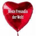 Beste Freundin der Welt! Roter Herzluftballon aus Folie mit Ballongas-Helium
