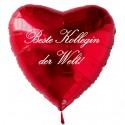 Beste Kollegin der Welt! Roter Herzluftballon aus Folie mit Ballongas-Helium